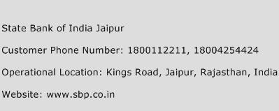 State Bank of India Jaipur Phone Number Customer Service