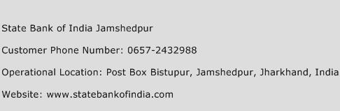 State Bank of India Jamshedpur Phone Number Customer Service