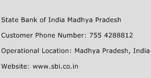 State Bank of India Madhya Pradesh Phone Number Customer Service