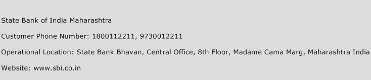 State Bank of India Maharashtra Phone Number Customer Service