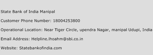 State Bank of India Manipal Phone Number Customer Service