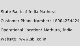 State Bank of India Mathura Phone Number Customer Service