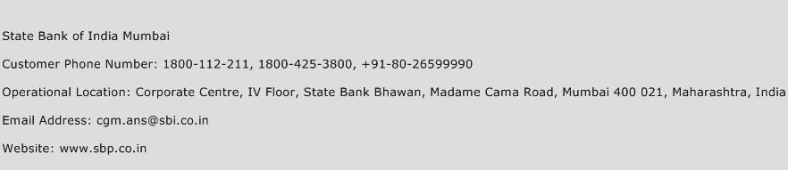 State Bank of India Mumbai Phone Number Customer Service
