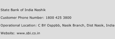 State Bank of India Nashik Phone Number Customer Service