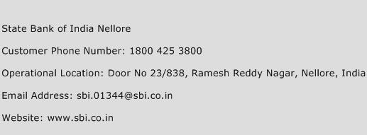 State Bank of India Nellore Phone Number Customer Service
