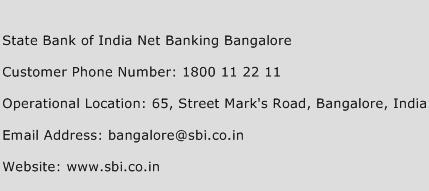 State Bank of India Net Banking Bangalore Phone Number Customer Service