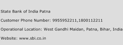 State Bank of India Patna Phone Number Customer Service