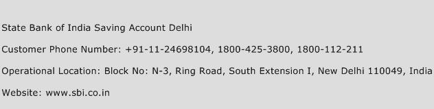 State Bank of India Saving Account Delhi Phone Number Customer Service