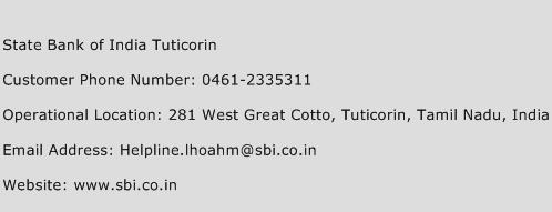 State Bank of India Tuticorin Phone Number Customer Service