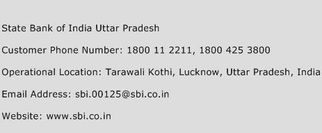 State Bank of India Uttar Pradesh Phone Number Customer Service