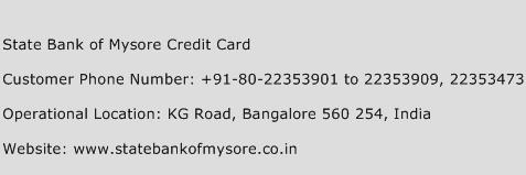 State Bank of Mysore Credit Card Phone Number Customer Service