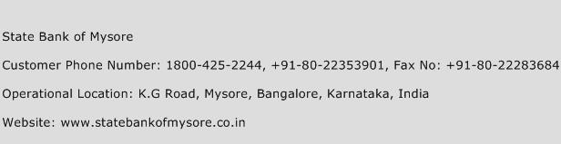 State Bank of Mysore Phone Number Customer Service