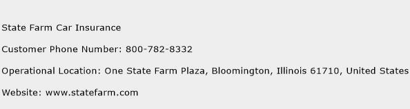 State Farm Car Insurance Phone Number Customer Service