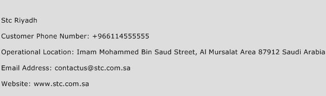 Stc Riyadh Phone Number Customer Service