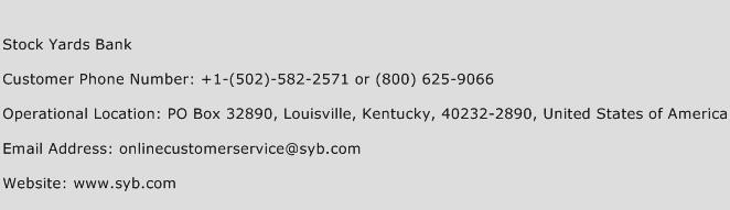 Stock Yards Bank Phone Number Customer Service