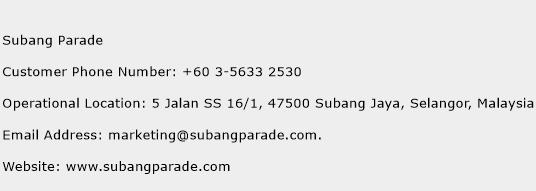 Subang Parade Phone Number Customer Service