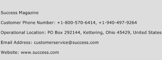 Success Magazine Phone Number Customer Service