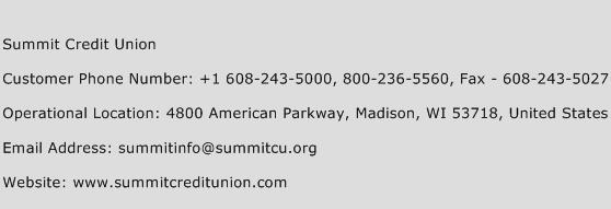 Summit Credit Union Phone Number Customer Service