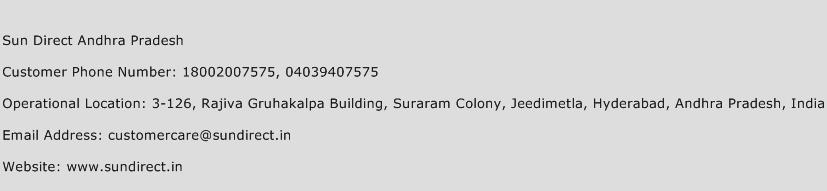 Sun Direct Andhra Pradesh Phone Number Customer Service