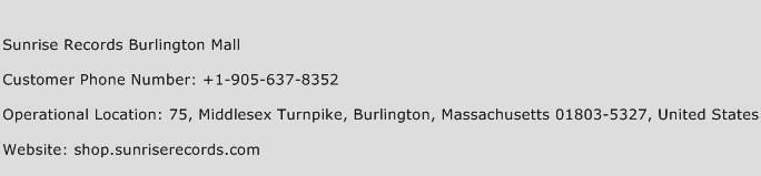 Sunrise Records Burlington Mall Phone Number Customer Service