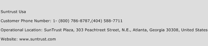 Suntrust USA Phone Number Customer Service