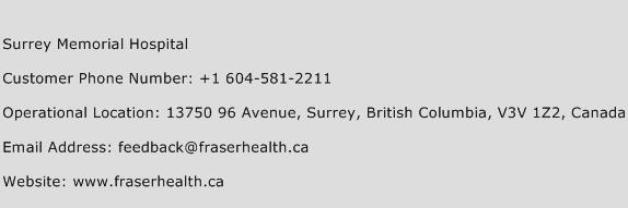 Surrey Memorial Hospital Phone Number Customer Service
