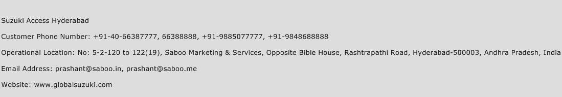 Suzuki Access Hyderabad Phone Number Customer Service