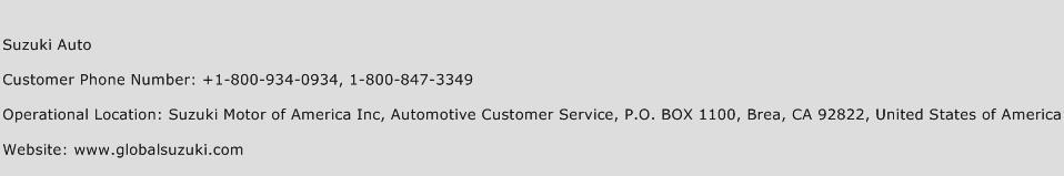 Suzuki Roadside Assistance Phone Number
