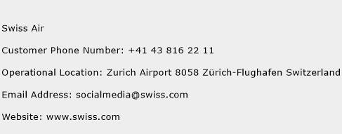Swiss Air Phone Number Customer Service
