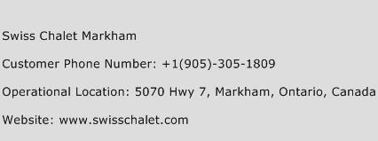 Swiss Chalet Markham Phone Number Customer Service