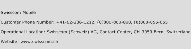 Swisscom Mobile Phone Number Customer Service
