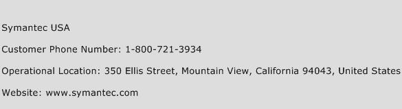 Symantec USA Phone Number Customer Service
