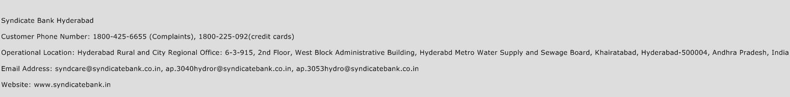 Syndicate Bank Hyderabad Phone Number Customer Service