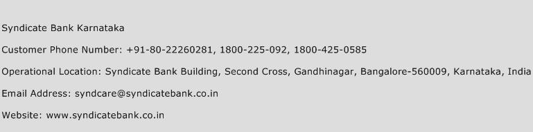 Syndicate Bank Karnataka Phone Number Customer Service