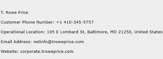 T. Rowe Price Phone Number Customer Service
