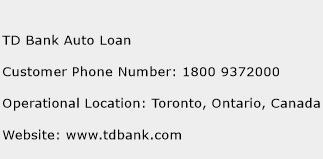 TD Bank Auto Loan Phone Number Customer Service