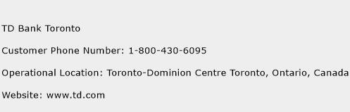 TD Bank Toronto Phone Number Customer Service
