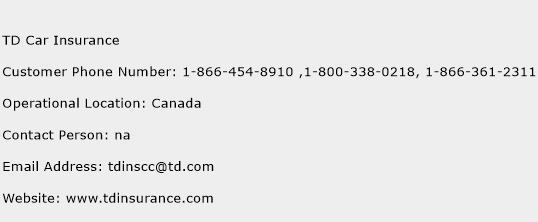 TD Car Insurance Phone Number Customer Service