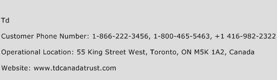 TD Phone Number Customer Service