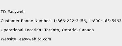 TD Easyweb Phone Number Customer Service