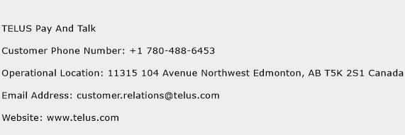 TELUS Pay And Talk Phone Number Customer Service