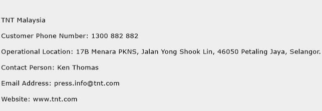 TNT Malaysia Phone Number Customer Service