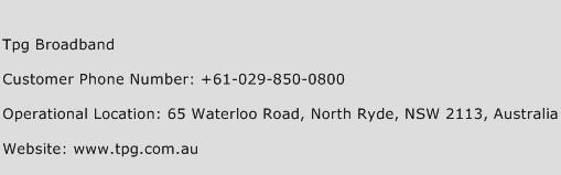 TPG Broadband Phone Number Customer Service
