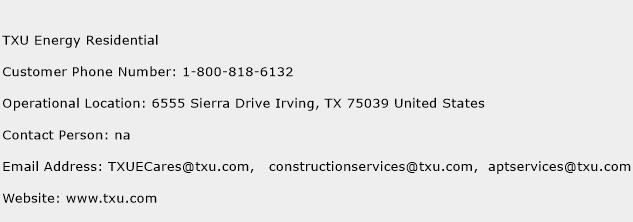 TXU Energy Residential Phone Number Customer Service