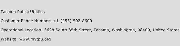 Tacoma Public Utilities Phone Number Customer Service