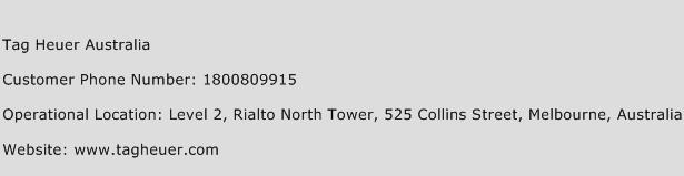 Tag Heuer Australia Phone Number Customer Service