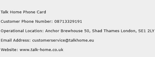 Talk Home Phone Card Phone Number Customer Service