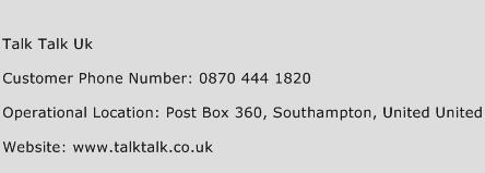 Talk Talk Uk Phone Number Customer Service