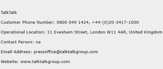 TalkTalk Phone Number Customer Service