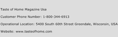 Taste of Home Magazine Usa Phone Number Customer Service